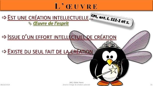 08/10/2014  AEC, Cédric Favre  ¾ Son genre  ¾ Sa forme d'expression  ¾ Son mérite  ¾ Sa destination  Droit à l'image & Cré...