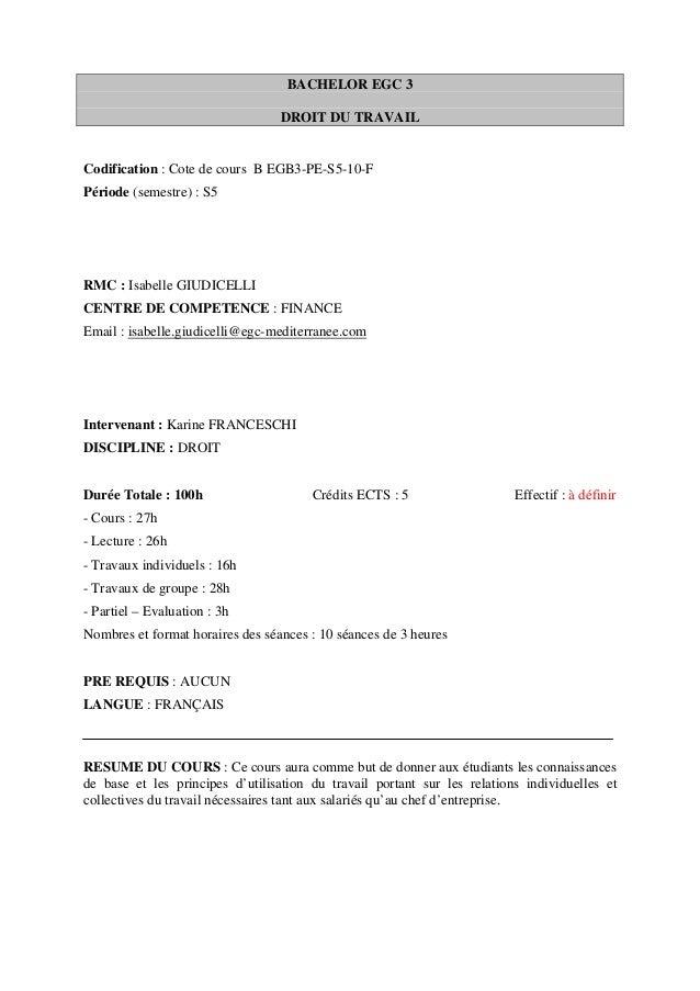 BACHELOR EGC 3                                  DROIT DU TRAVAILCodification : Cote de cours B EGB3-PE-S5-10-FPériode (sem...