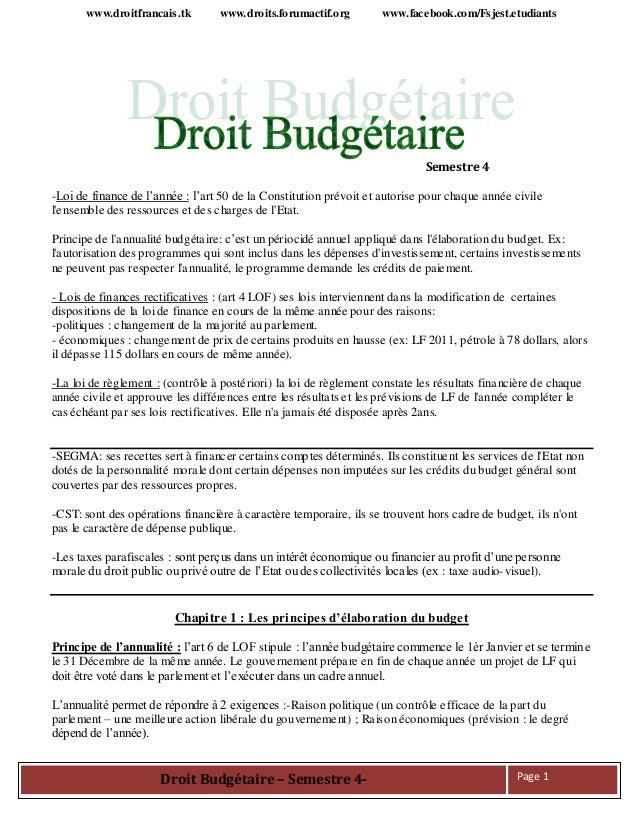 www.droitfrancais.tk www.droits.forumactif.org www.facebook.com/Fsjest.etudiants Droit Budgétaire – Semestre 4- Page 1 Sem...
