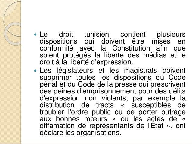 Les droits civiles et politiques dans la constitution tunisienne - Delai pour porter plainte pour diffamation ...