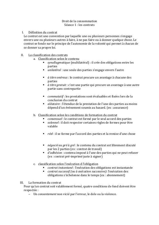 Droit de la consommation                                                          Séance 1 : les contrats...