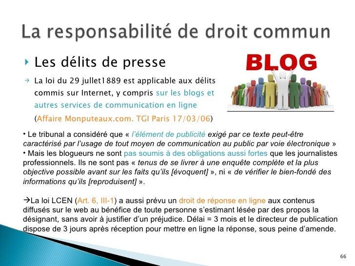 Droit de l internet et de l information complet - Delai pour porter plainte pour diffamation ...