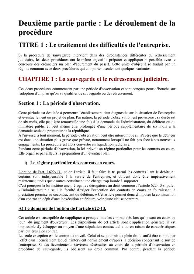Deuxième partie partie : Le déroulement de la procédure TITRE 1 : Le traitement des difficultés de l'entreprise. Si la pro...