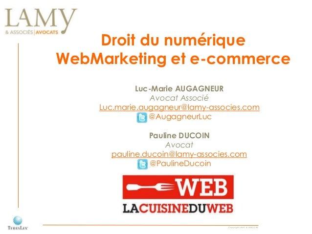 Copyright LAMY & ASSOCIÉS Droit du numérique WebMarketing et e-commerce Luc-Marie AUGAGNEUR Avocat Associé Luc.marie.augag...