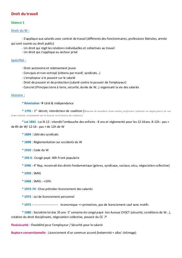 Droit du travail Séance 1 Droit du W : - S'applique aux salariés avec contrat de travail (différents des fonctionnaires, p...