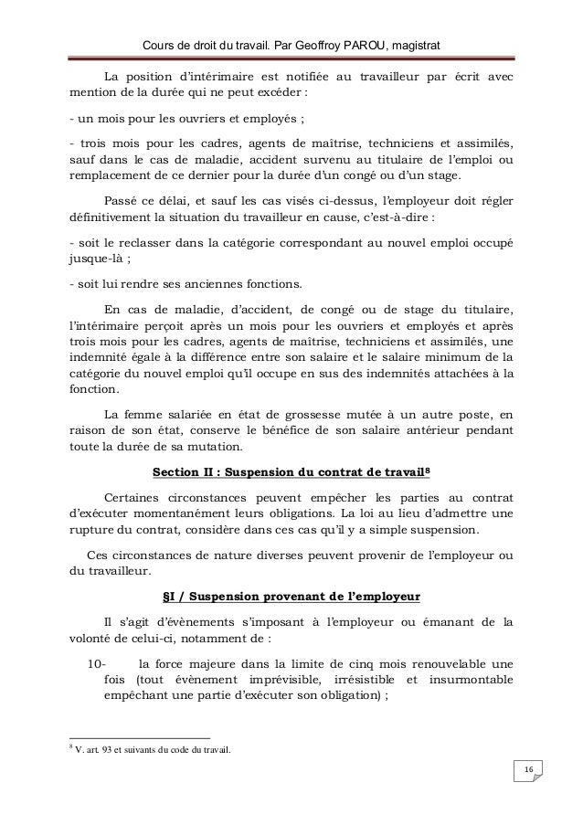 rupture du contrat de travail pour force majeure Droit du travail rupture du contrat de travail pour force majeure
