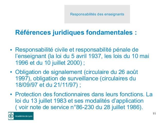 11 Références juridiques fondamentales : ● Responsabilité civile et responsabilité pénale de l'enseignant (la loi du 5 avr...