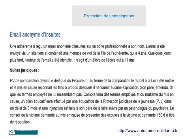 9 http://www.autonome-solidarite.fr Protection des enseignants