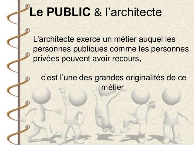 L'architecte exerce un métier auquel les personnes publiques comme les personnes privées peuvent avoir recours, c'est l'un...