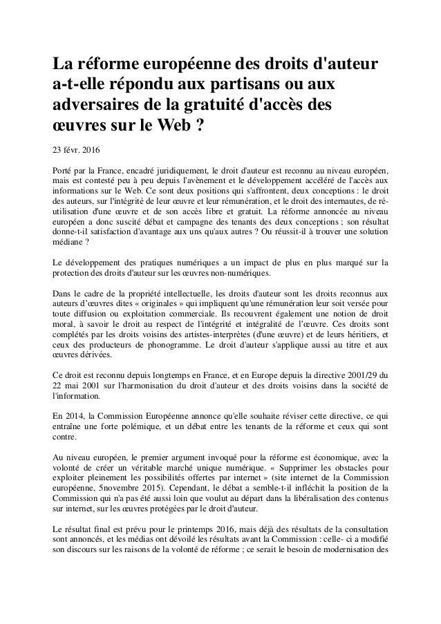 La réforme européenne des droits d'auteur a-t-elle répondu aux partisans ou aux adversaires de la gratuité d'accès des œuv...