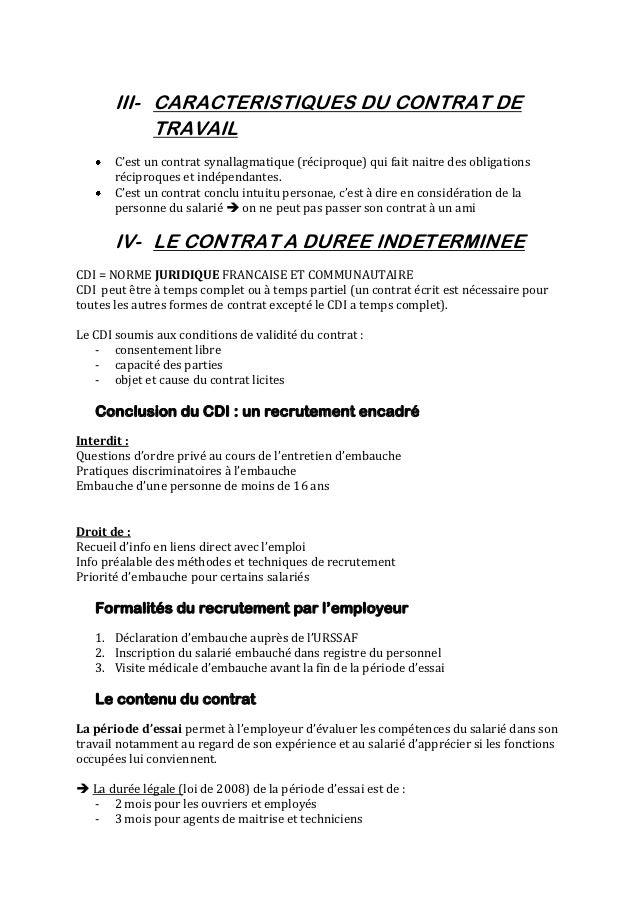 III- CARACTERISTIQUES DU CONTRAT DE            TRAVAIL       C'est un contrat synallagmatique (réciproque) qui fait naitre...