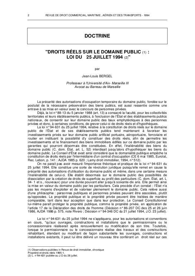 """2 REVUE DE DROIT COMMERCIAL, MARITIME , AÉRIEN ET DES TRANSPORTS - 1994 DOCTRINE """"DROITS RÉELS SUR LE DOMAINE PUBLIC (1 LO..."""