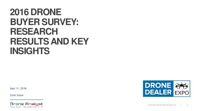1Copyright 2016 Skylogic Research, LLC | 2016 DRONE BUYER SURVEY: RESEARCH RESULTS AND KEY INSIGHTS April 11, 2016 Colin S...