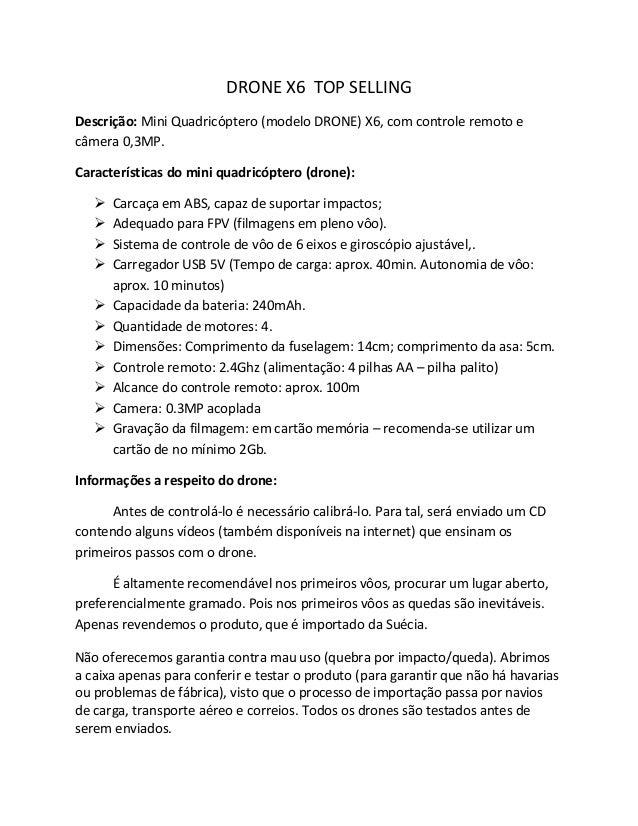 DRONE X6 TOP SELLING  Descrição: Mini Quadricóptero (modelo DRONE) X6, com controle remoto e câmera 0,3MP.  Característica...