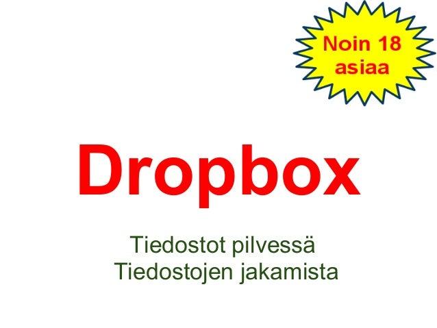 Dropbox Tiedostot pilvessä Tiedostojen jakamista