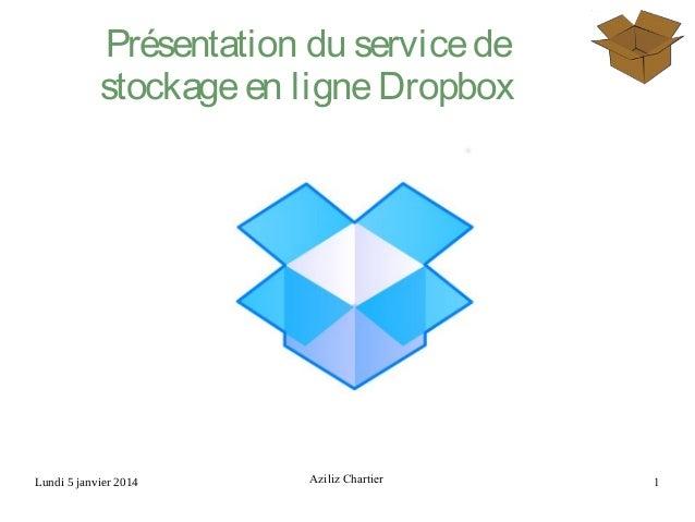 Lundi 5 janvier 2014 Aziliz Chartier 1 Présentation du servicede stockageen ligneDropbox