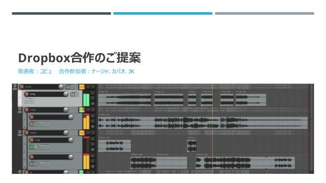 Dropbox合作のご提案 発表者:ユビュ 合作参加者:ナージャ、カバオ、JK