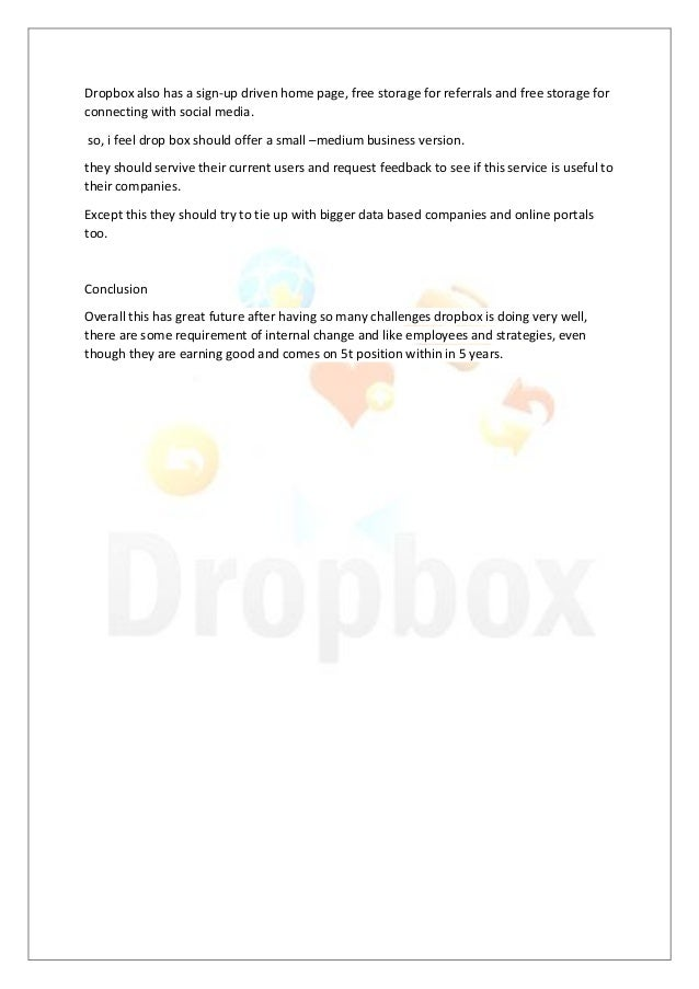 Dropbox case analysis - College paper Example - August 2019