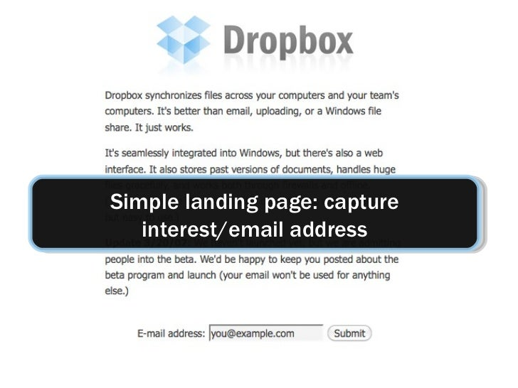 Simple landing page: capture interest/email address