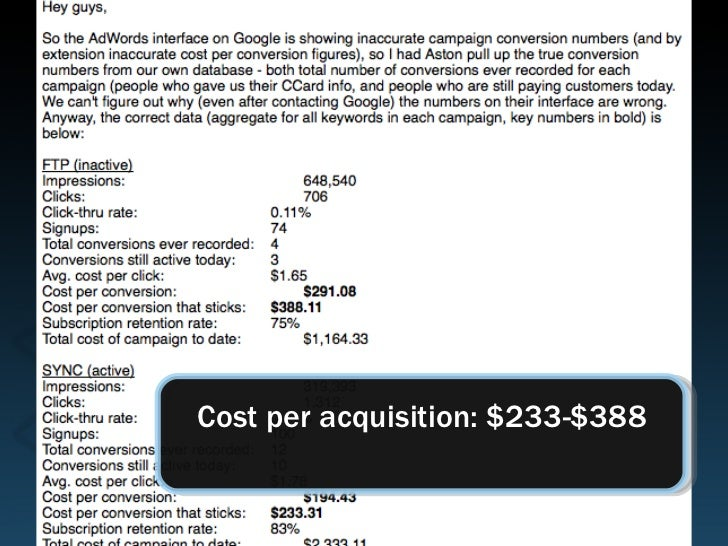 Cost per acquisition: $233-$388
