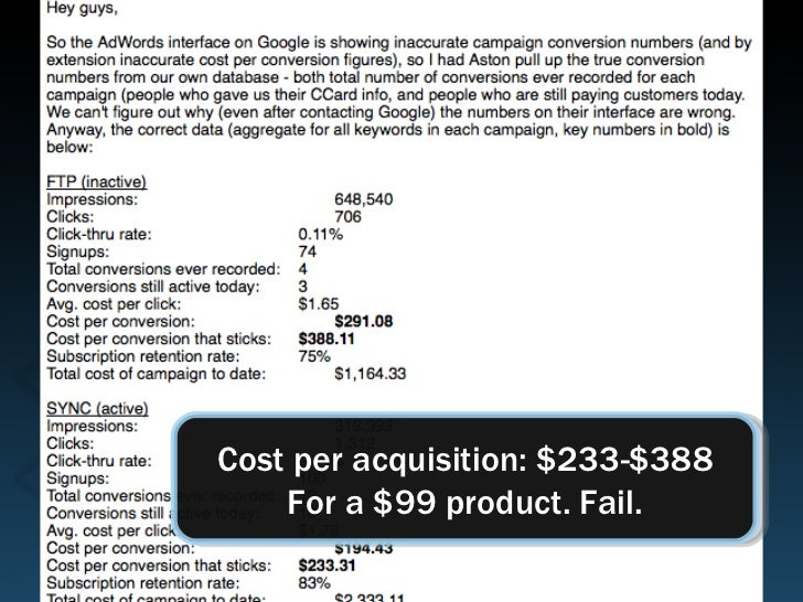 Cost per acquisition: $233-$388 For a $99 product. Fail.