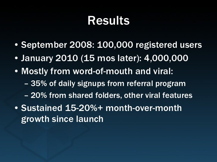 Results <ul><li>September 2008: 100,000 registered users </li></ul><ul><li>January 2010 (15 mos later): 4,000,000 </li></u...