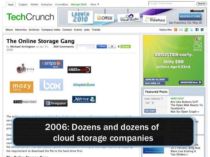 2006: Dozens and dozens of  cloud storage companies