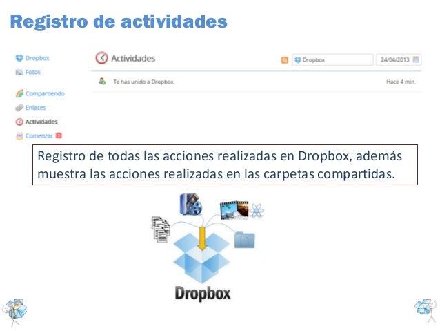 Registro de todas las acciones realizadas en Dropbox, ademásmuestra las acciones realizadas en las carpetas compartidas.Re...