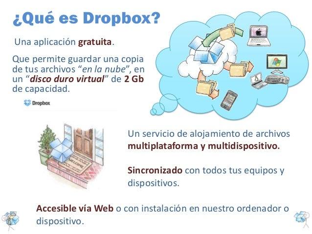 ¿Qué es Dropbox?Una aplicación gratuita.Un servicio de alojamiento de archivosmultiplataforma y multidispositivo.Que permi...