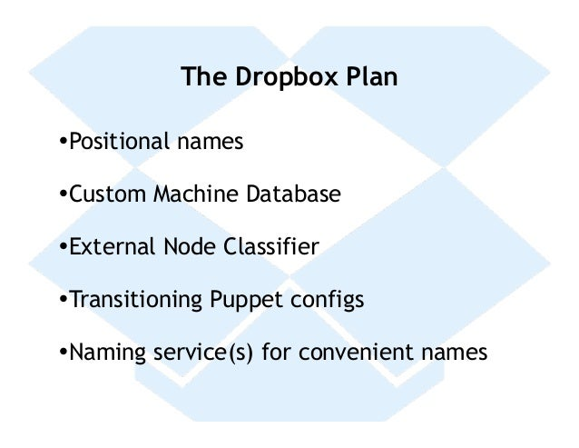 The Dropbox Plan• Positional names• Custom Machine