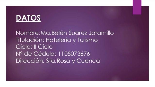 DATOS Nombre:Ma.Belén Suarez Jaramillo Titulación: Hotelería y Turismo Ciclo: II Ciclo N° de Cédula: 1105073676 Dirección:...