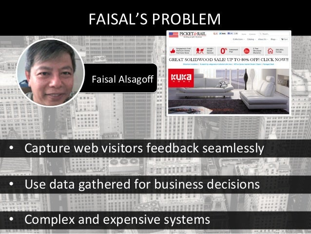 Faisal Alsagoff  FAISAL'S PROBLEM  • Capture web visitors feedback seamlessly  • Use data gathered for busin...