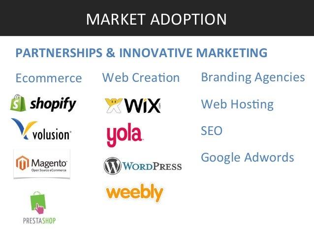 MARKET ADOPTION  PARTNERSHIPS & INNOVATIVE MARKETING  Ecommerce  Web Crea]on  Branding Agencies  Web Hos]ng  ...