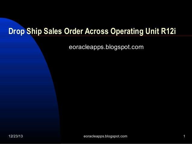 Drop Ship Sales Order Across Operating Unit R12i eoracleapps.blogspot.com  12/23/13  eoracleapps.blogspot.com  1