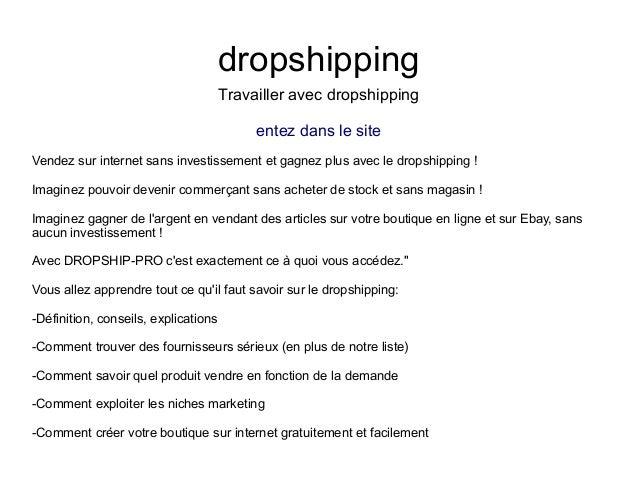 dropshippingTravailler avec dropshippingentez dans le siteVendez sur internet sans investissement et gagnez plus avec le d...
