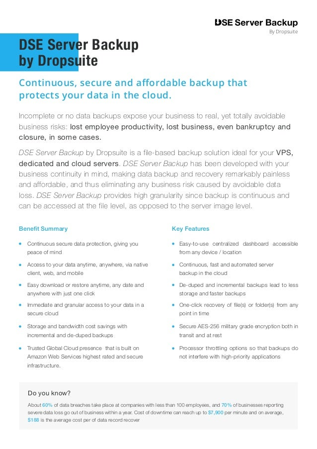 Incomplete or no data backups expose your business to real, yet totally avoidable business risks: lost employee productivi...
