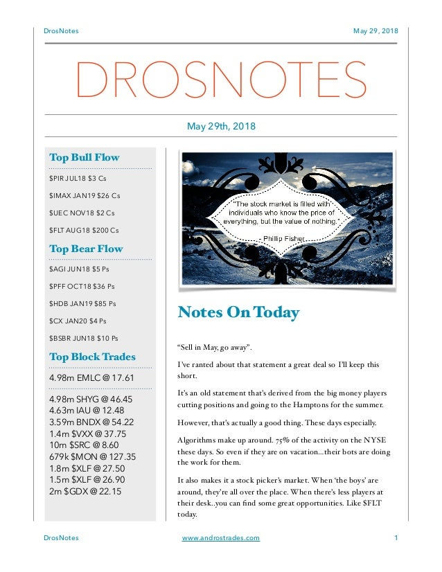 "DrosNotes May 29, 2018 Notes On Today ""Sell in May, go away"". I've ranted about that statement a great deal so I'll keep t..."