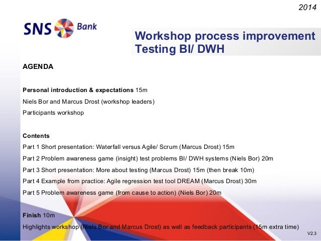 2014  Workshop process improvement Testing BI/ DWH AGENDA Personal introduction & expectations 15m Niels Bor and Marcus Dr...
