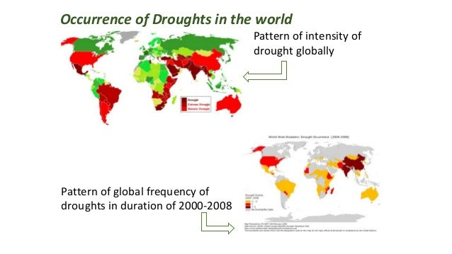 Occurrence of Droughts in the world Pattern of intensity of drought globally Pattern of global frequency of droughts in du...
