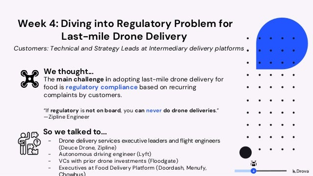 Week 4: Diving into Regulatory Problem for Last-mile Drone Delivery We thought... The main challenge in adopting last-mile...