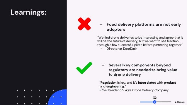 """Learnings: - Food delivery platforms are not early adopters """"We find drone deliveries to be interesting and agree that it ..."""