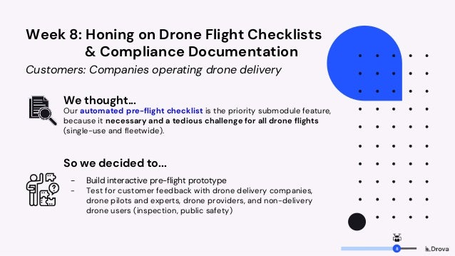 Week 8: Honing on Drone Flight Checklists & Compliance Documentation Customers: Companies operating drone delivery We thou...