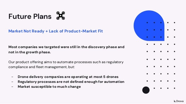 Future Plans Market Not Ready + Lack of Product-Market Fit Most companies we targeted were still in the discovery phase an...