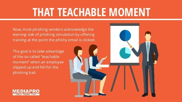 THAT TEACHABLE MOMENT Now, most phishing vendors acknowledge the learning side of phishing simulation by offering training...