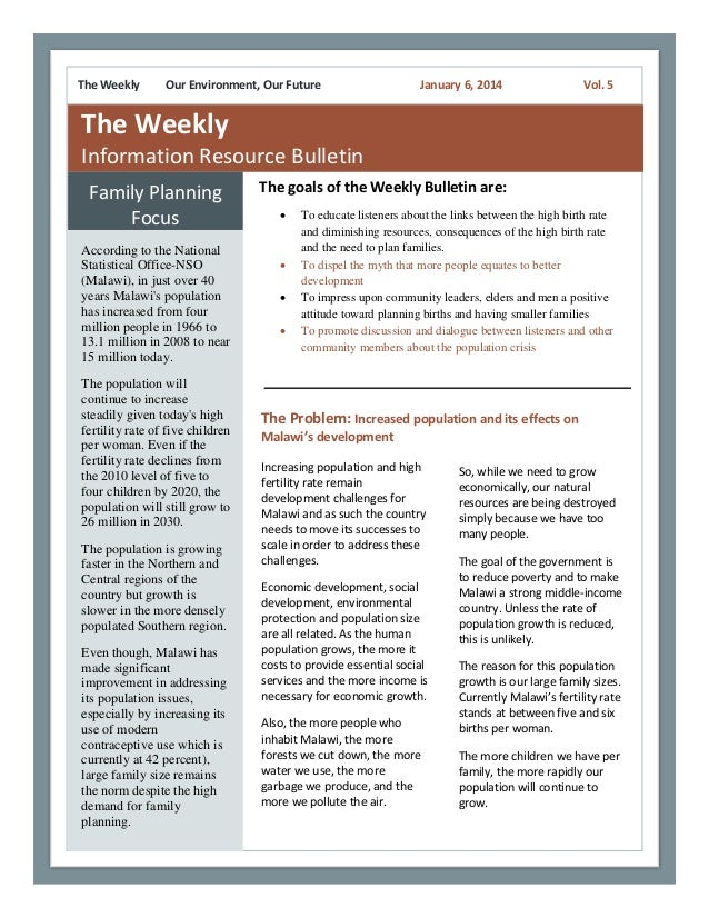 The Weekly  Our Environment, Our Future  January 6, 2014  Vol. 5  The Weekly Information Resource Bulletin Family Planning...