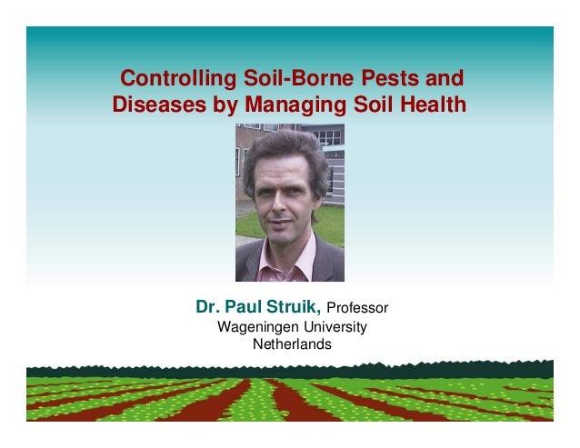 Controlling Soil-Borne Pests andDiseases by Managing Soil Health       Dr. Paul Struik, Professor         Wageningen Unive...