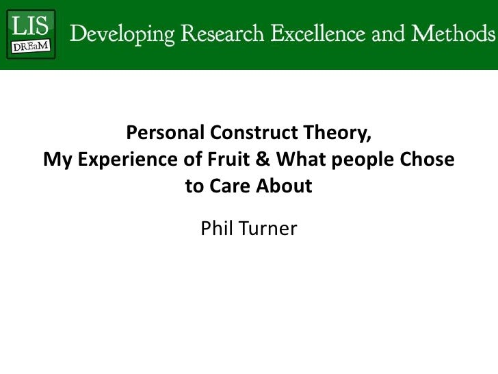 Personal Construct Theory,My Experience of Fruit & What people Chose              to Care About                Phil Turner