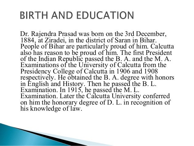 short essay on dr. rajendra prasad Dr rajendra prasad, a statesman and social worker, was the first president of the republic of india he was a great educationist and a man of world fame he was an author too dr rajendra prasad.