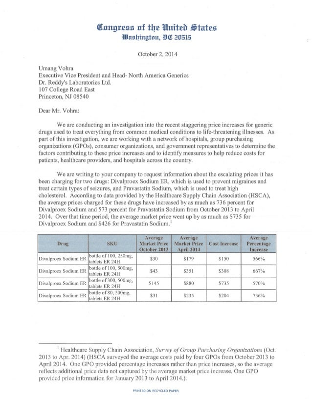 Global Medical Cures™ | US Senate Letter to Dr Reddys Labs (GENERICS PRICING)