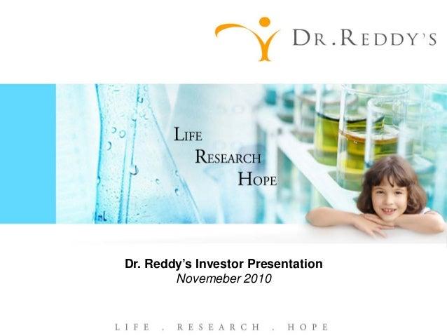 Dr. Reddy's Investor Presentation Novemeber 2010